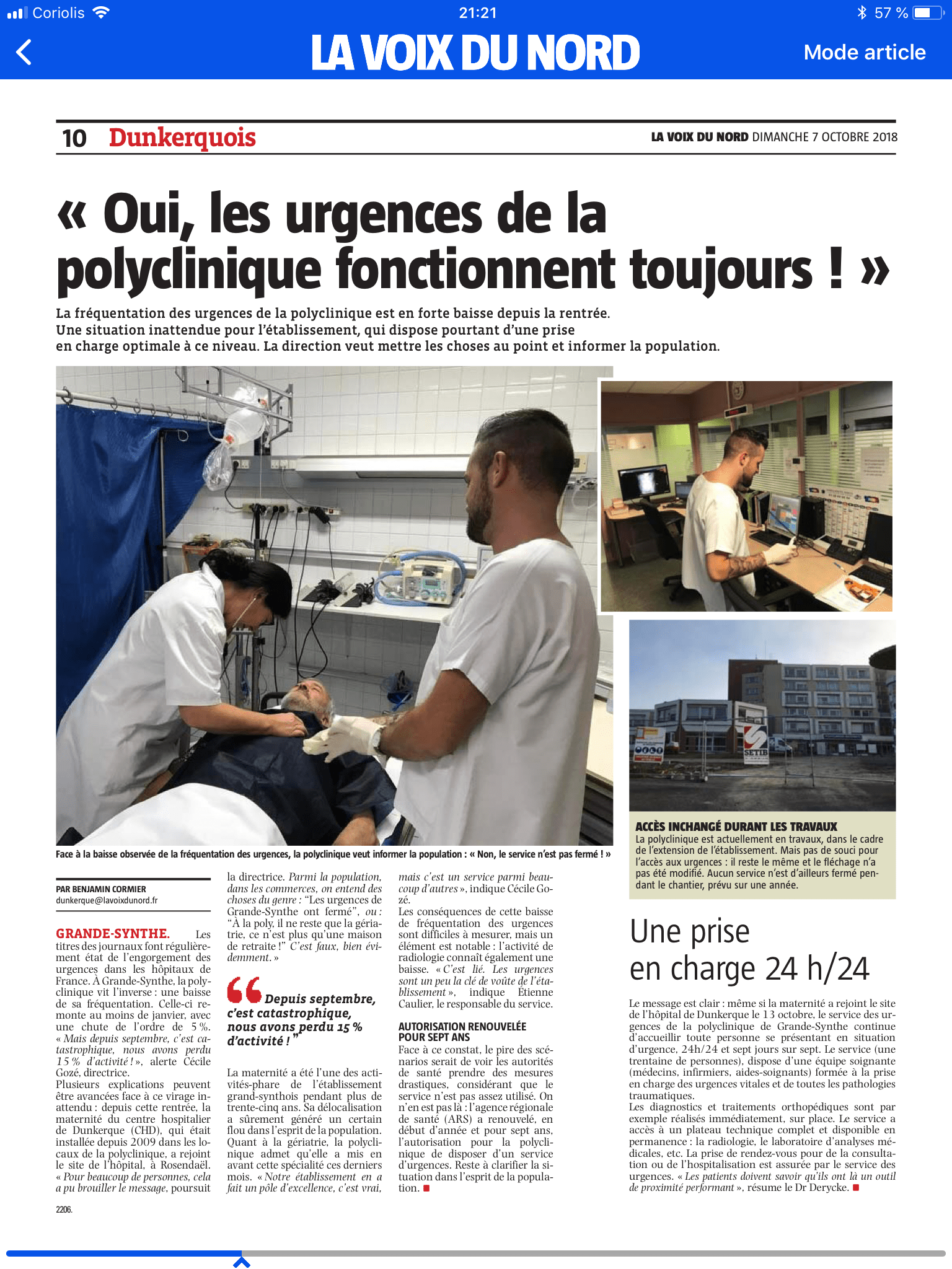 Article VDN Polyclinique de Grande Synthe urgences ouvertes